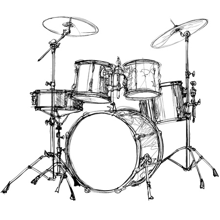 rock   roll: illustration of a drum kit Illustration