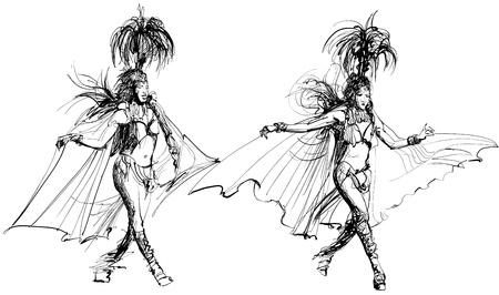 carnival girl: ilustraci�n de dos bailar�n de samba