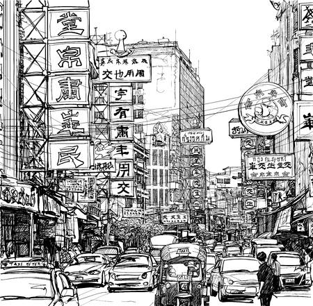 traffic jam: illustration of a street in Chinatown - Bangkok