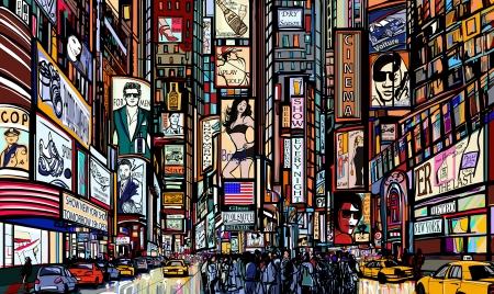 new york buildings: Illustration of a street in New York city