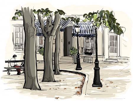 montmartre: illustration de Paris - Montmartre dans le style aquarelle