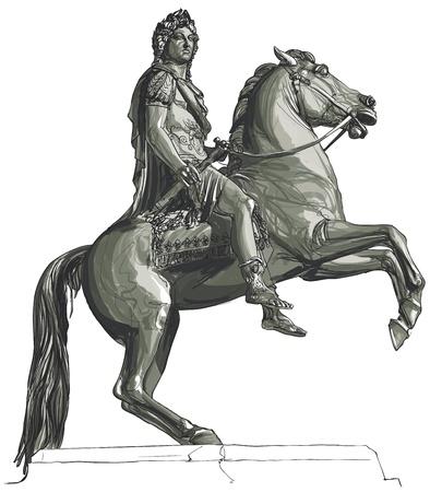 sculptures: illustration of French king Louis XIV equestrian statue at Place des Victoires, Paris