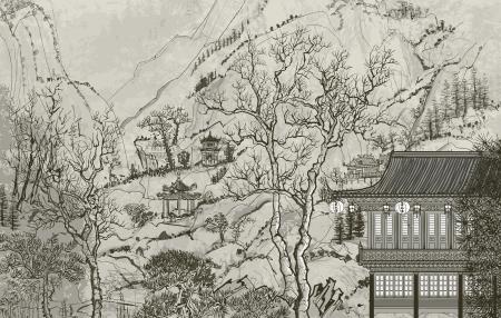 illustratie van een Chinees landschap in de stijl van de oude Chinese schilderkunst
