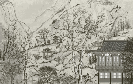 illustration of a Chinese landscape in the style of old chinese painting Vector