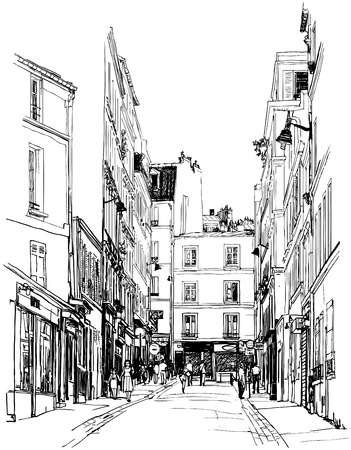 paris street: illustration of a street near Montmartre in Paris