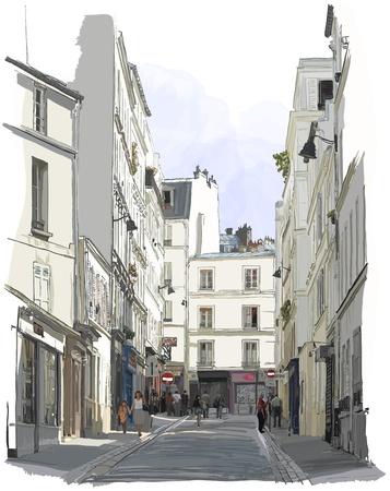 montmartre: Vector illustration d'une rue pr�s de Montmartre � Paris Illustration
