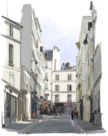 street cafe: Vector illustration of a street near Montmartre in Paris