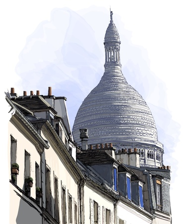 historical landmark: Vector illustration of a view of Montmartre in Paris