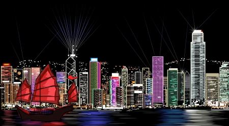 illustration of Hong Kong by night  向量圖像