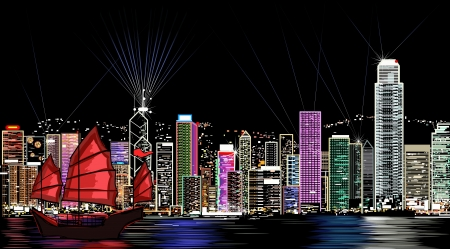 illustration of Hong Kong by night  Vector