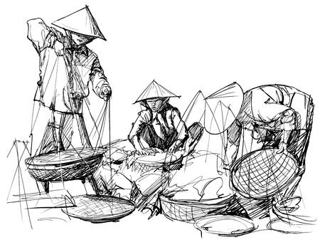 vendors: Vector illustration of a market scenery in Vietnam Illustration