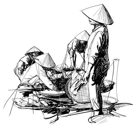 Vector illustration of a market scenery in Vietnam Illusztráció