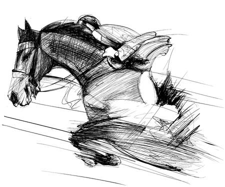 corse di cavalli: Illustrazione vettoriale di un cavallo da corsa e fantino Vettoriali