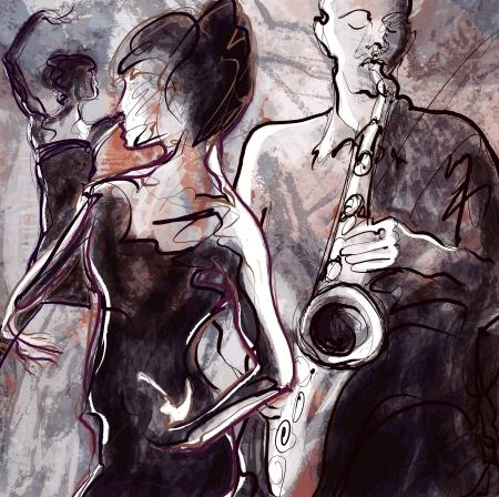 instruments de musique: Vector illustration d'un groupe de jazz avec des danseurs Illustration
