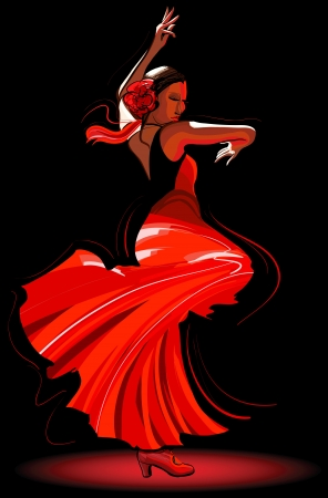 spanish dancer: Vector illustration of a flamenco dancer Illustration