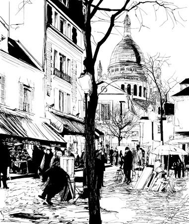 montmartre: illustration vectorielle de Paris - Montmartre en hiver Illustration