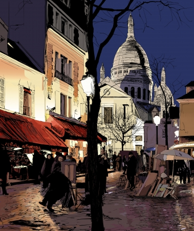 パリ - モンマルトル冬のイラスト