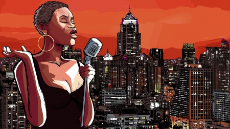 afro: illustration of an afro american jazz singer on cityscape background