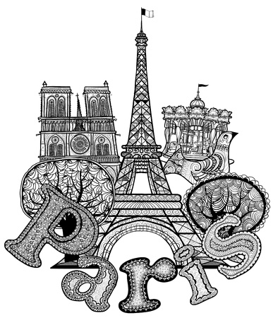 Vector illustration of an original composition about Paris Vector