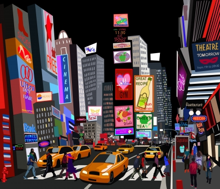 taxi cab: Illustration of a street in New York city