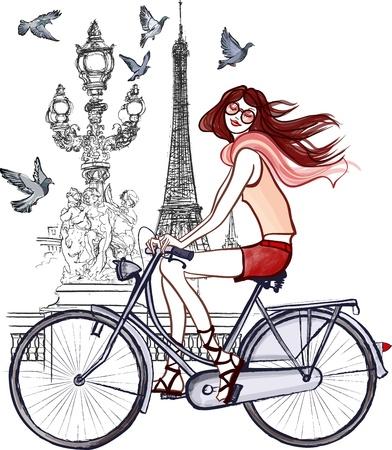 alexander: illustration of woman on Alexander III bridge in Paris  Illustration