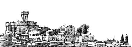 カーニュ シュール メールのイラスト: フランスのニースの都市の最も大きい郊外  イラスト・ベクター素材