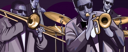orchestra: illustration of a jazz band with trombone trumpet double bass and drum