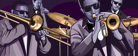 illustrazione di una jazz band con tromba trombone contrabbasso e batteria