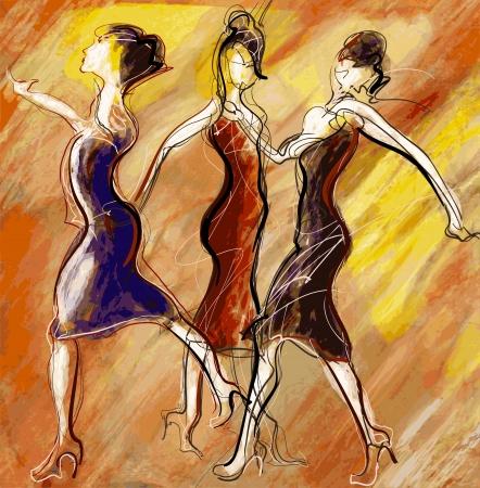 ragazze che ballano: illustrazione delle donne che ballano