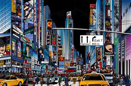 Ilustración vectorial de una calle de ciudad de Nueva York en la noche