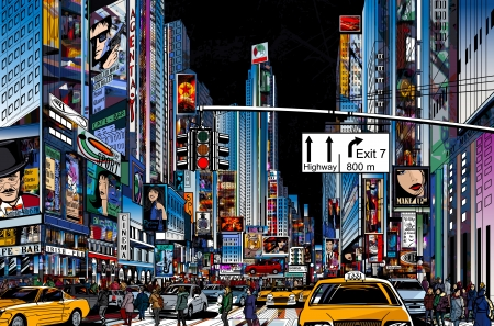 Vector illustratie van een straat in New York stad bij nacht