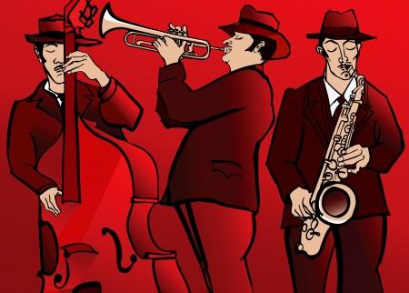 ilustración de una banda de jazz con el saxofón bajo y trompeta