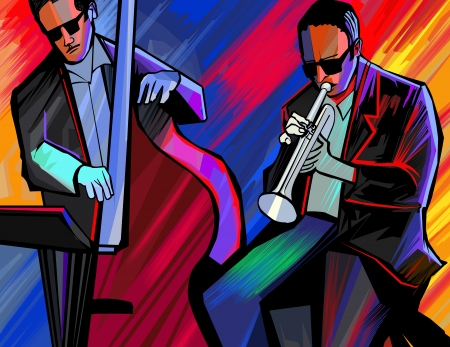 illustration of a jazz band with trumpet and double bass