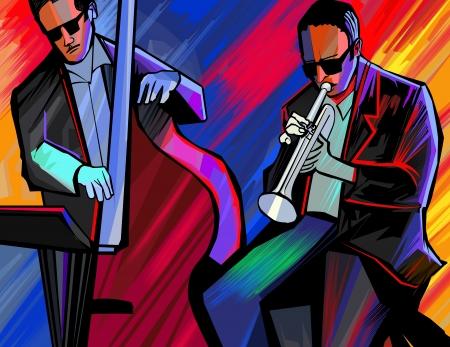 illustrazione di una jazz band con la tromba e contrabbasso