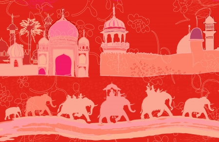 india culture: illustration of Indian decor with elephants