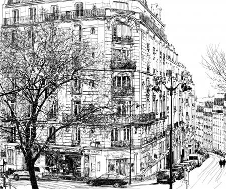 Illustrazione vettoriale di una vista di Montmartre a Parigi sotto la prima neve d'inverno