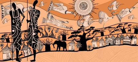 masai: vector illustration of a composition about africa (each element separated)