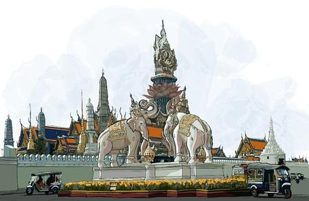 bangkok: illustration of Bangkok - Grand palace