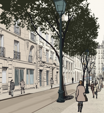 illustration of a view of Montmartre in Paris