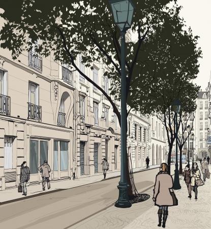 paris illustration: illustration of a view of Montmartre in Paris