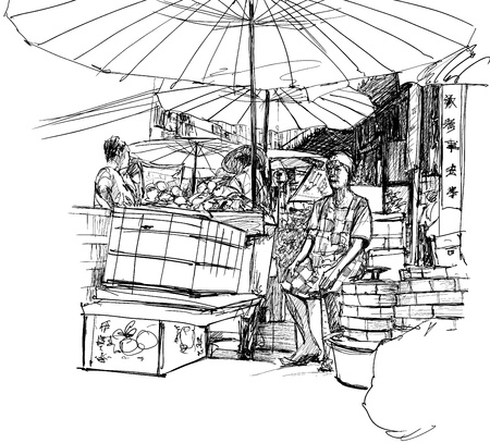 vendors: illustration of a chinese market in Bangkok