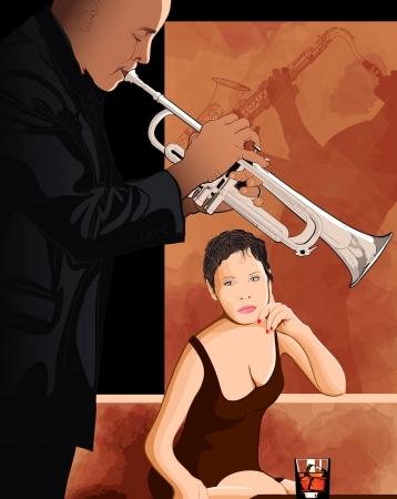 soprano saxophone: Ilustración de una mujer tomando una copa en un club de jazz Vectores