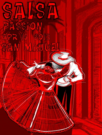 bailes de salsa: ilustraci�n de un cartel de baile latino