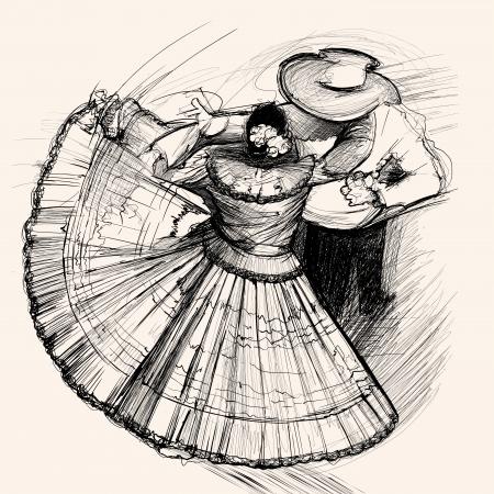 salsa dance: illustration of a latino dance  Illustration