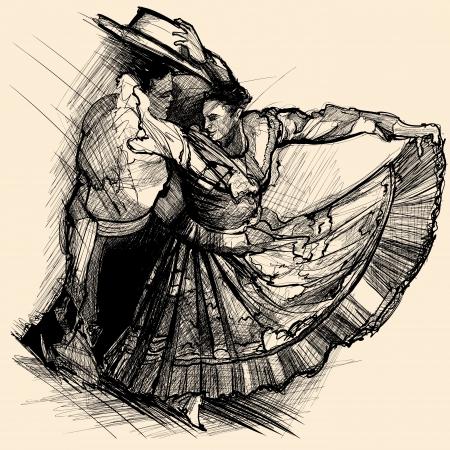 salsa dance: illustration of a latino dance drawing