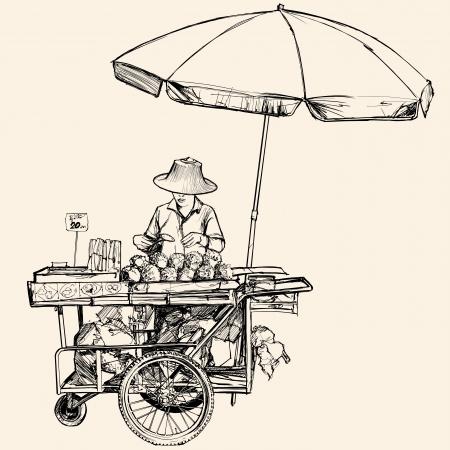 ilustración de un vendedor ambulante en Bangkok