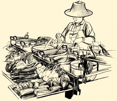 vendedor: Ilustraci�n vectorial de un vendedor ambulante de alimentos en Bangkok