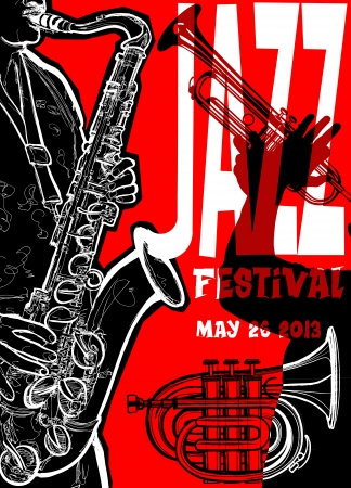 Vector illustration of a Jazz poster with saxophonist Vector