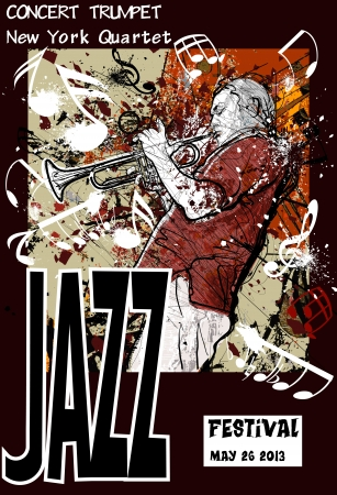 Vector illustration of a Jazz poster with trumpeter Stock fotó - 19915219