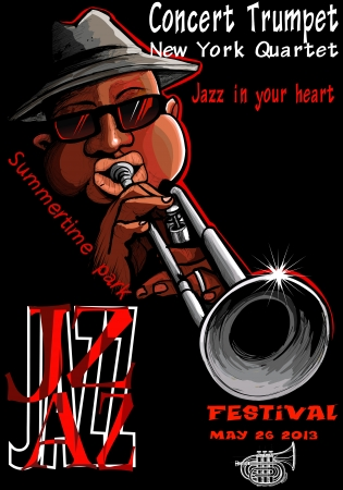Illustration of a Jazz poster with trumpeter Stock Vector - 20215648